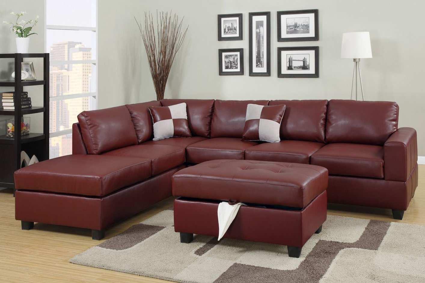 Red Leather Sectional Sofa and Ottoman - Steal-A-Sofa Furniture Outlet Los  Angeles CA