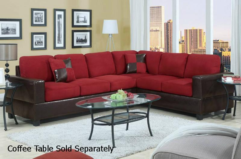 Playa Red Leather Sectional Sofa