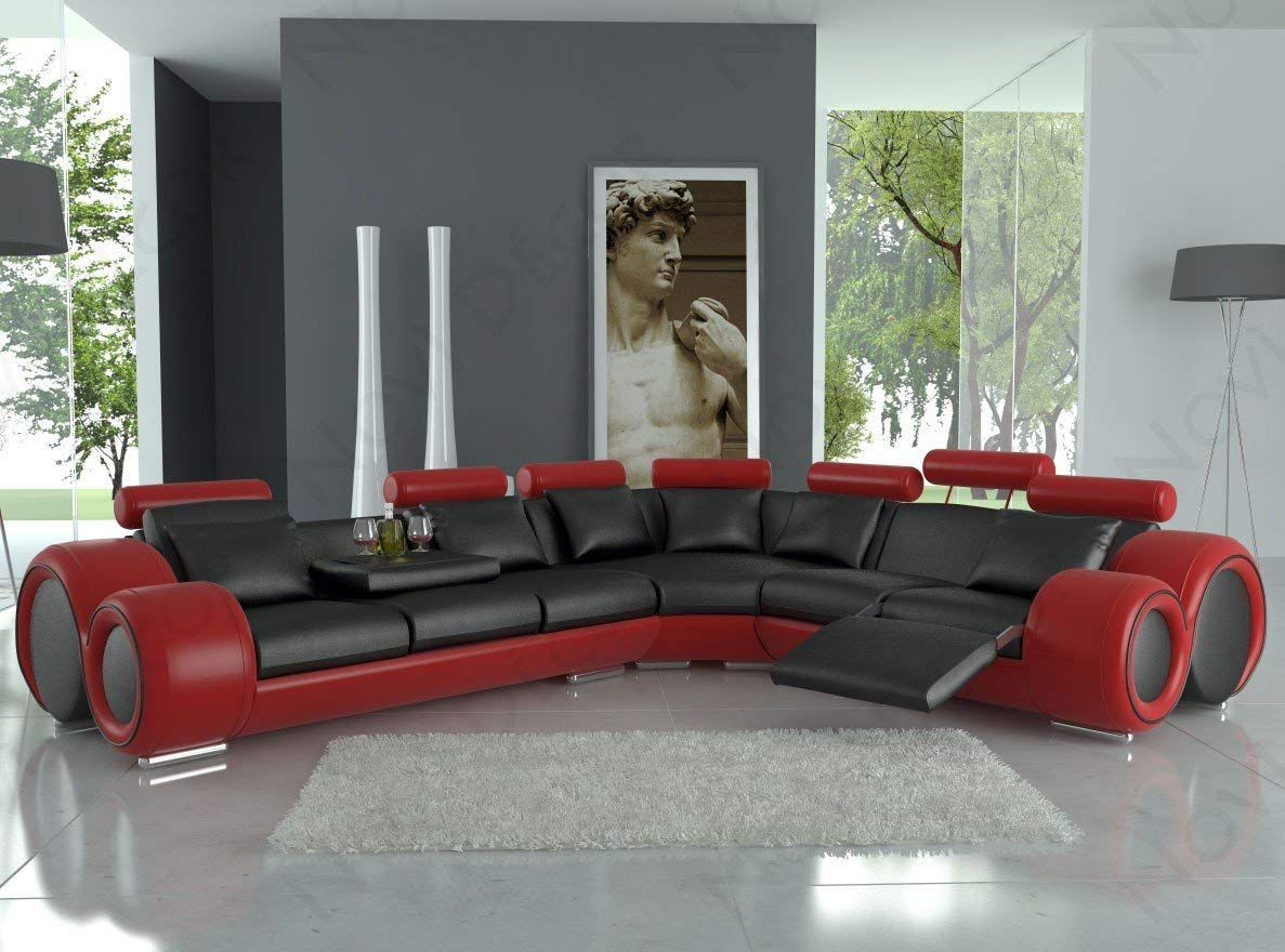 Traveller Location: 4087 Red & Black Bonded Leather Sectional Sofa With Built-in  Footrests: Kitchen & Dining