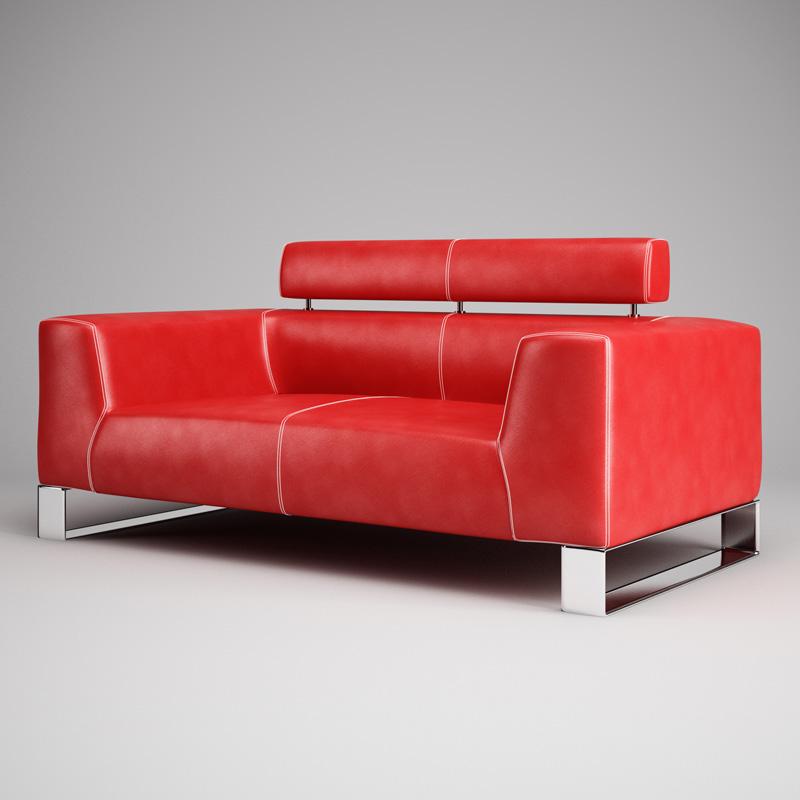 Home / 3D Models / Furnishing 3D Models / Red Leather Sofa 01