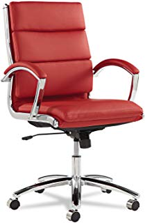 Alera ALENR4239 Neratoli Series Mid-Back Swivel/Tilt Chair, Red Soft  Leather,