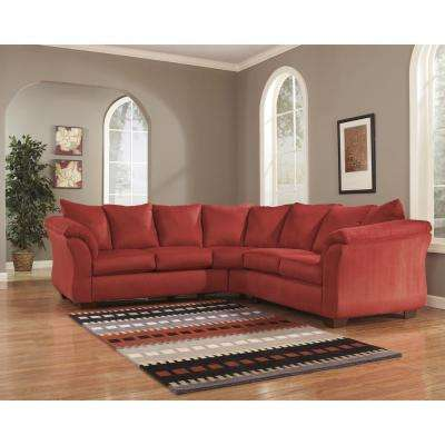 Signature Design by Ashley Darcy Red Sectional in Salsa Fabric