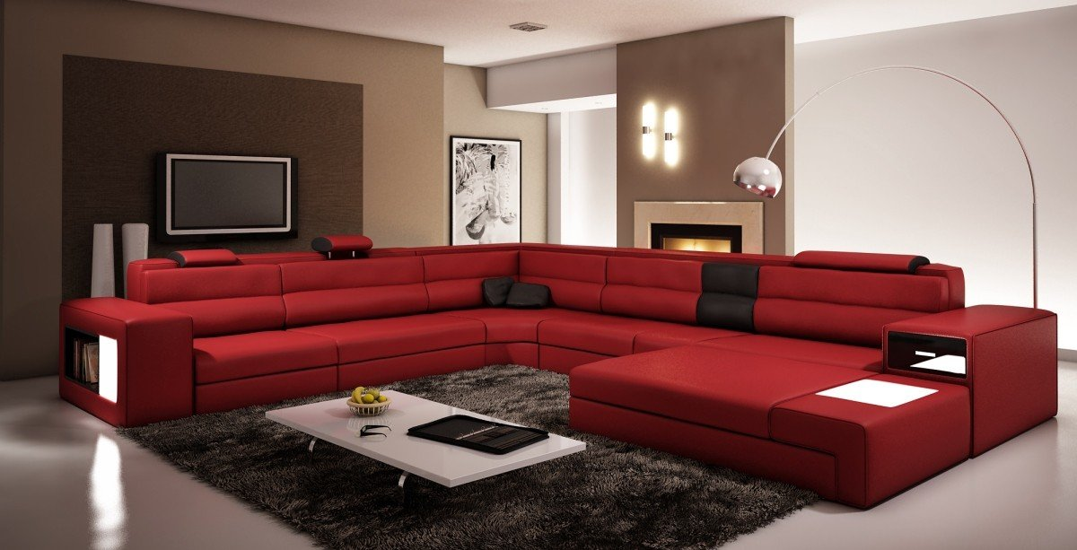 Traveller Location: VIG Furniture 5022 Polaris Red and Black Bonded Leather  Sectional Sofa: Kitchen & Dining