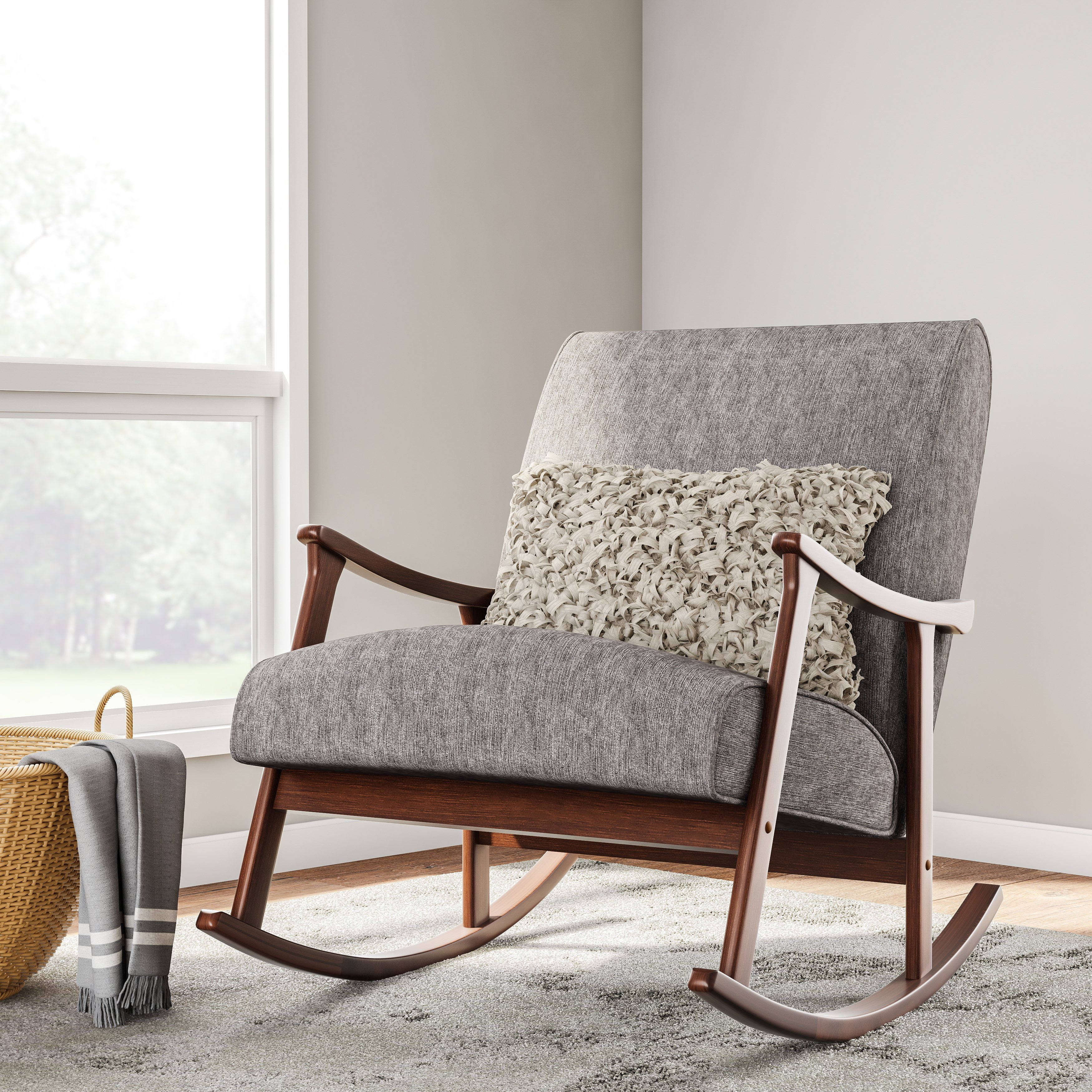 Carson Carrington Granite Grey Fabric Mid Century Wooden Rocking Chair
