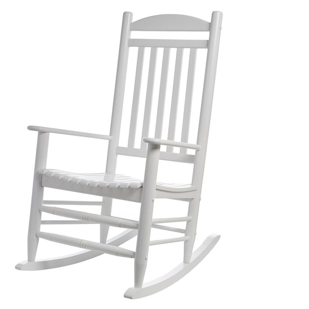 Hampton Bay White Wood Outdoor Rocking Chair