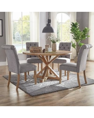Benchwright Rustic X-base 48-inch Round Dining Table Set by iNSPIRE Q  Artisan