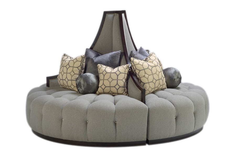 Mirage Round Sofa shown with: Button tufted seatBuilt-to-the-floor