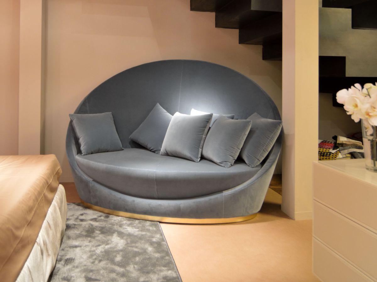 High back fabric round sofa