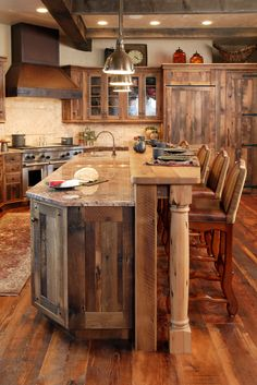 Arts and Crafts style shelves. Rustic Kitchen