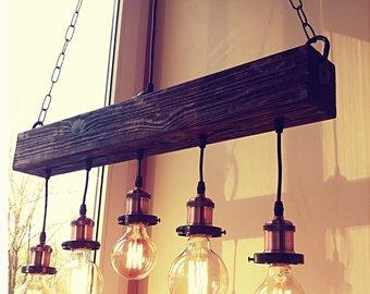 Handmade Beam Chandelier - Wood Beam Chandelier Wooden Chandelier Rustic  Lighting Farmhouse Pendant Hanging Lamp Indoor Lighting Ceiling
