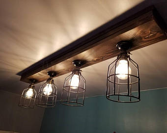 READY TO SHIP in 1 Day Rustic Farmhouse Decor - Farmhouse Ceiling light -  Cage Light - Barn Light - Flush mount
