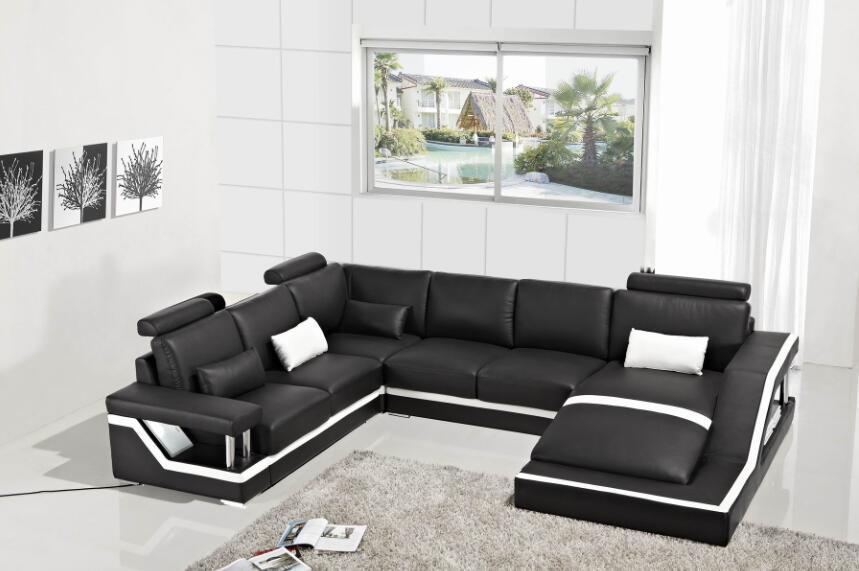 Sofas for living room modern sofa set with sectional sofa furniture with U  Shape corner Black color-in Living Room Sofas from Furniture on  Traveller Location
