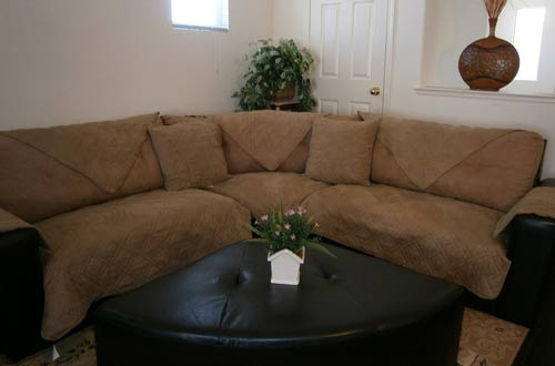 Quilted 35×82 Peat Bonded/Classic Micro Suede Sectional Sofa Cover Pad