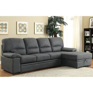 Furniture of America Delton Contemporary Faux Nubuck Sleeper Sectional