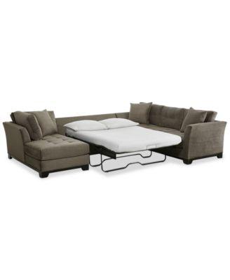 Elliot 3-Pc. Fabric Microfiber Sectional with Full Sleeper Sofa