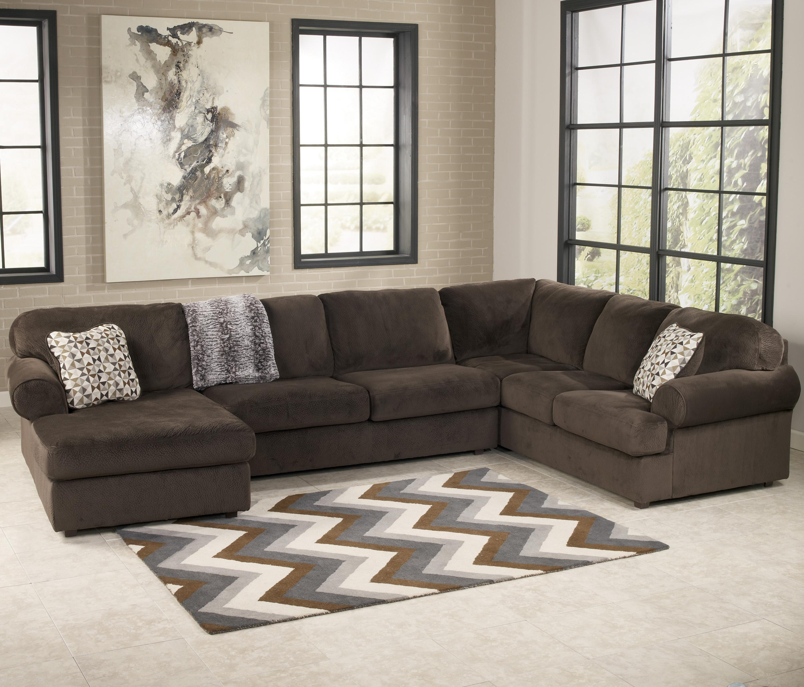Jessa Place - Chocolate Casual Sectional Sofa with Left Chaise by Ashley  Signature Design