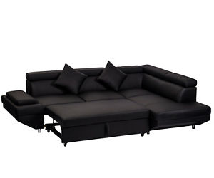 Image is loading Contemporary-Sectional-Modern-Sofa-Bed -Black-with-Functional-