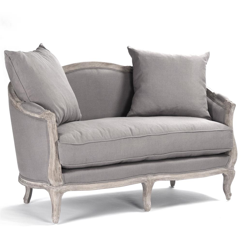 Rue du Bac French Country Grey Linen Feather Settee Loveseat | Kathy Kuo  Home