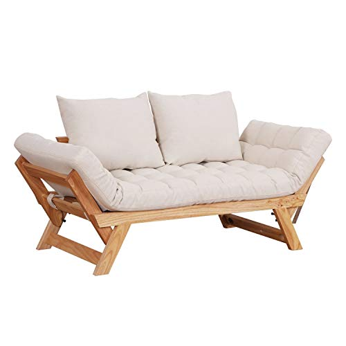 HOMCOM 3 Position Convertible Chaise Lounge Sofa Bed - Natural Wood/Cream  White