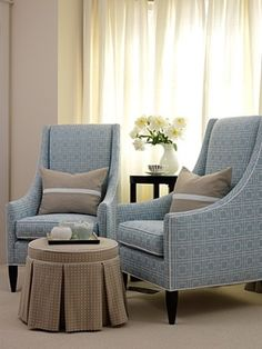 small sitting area - I love the chic, simple lines of these chairs and their