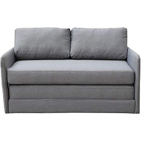 Traveller Location: Sleeper Loveseat - Convertible to Full Size Small Sofa Bed -  Contemporary Upholstered Two Seat Furniture (Gray): Kitchen & Dining