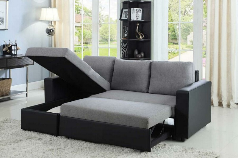 CST503929 2 pc Everly collection contemporary style grey fabric / black  vinyl upholstered sleeper sectional sofa
