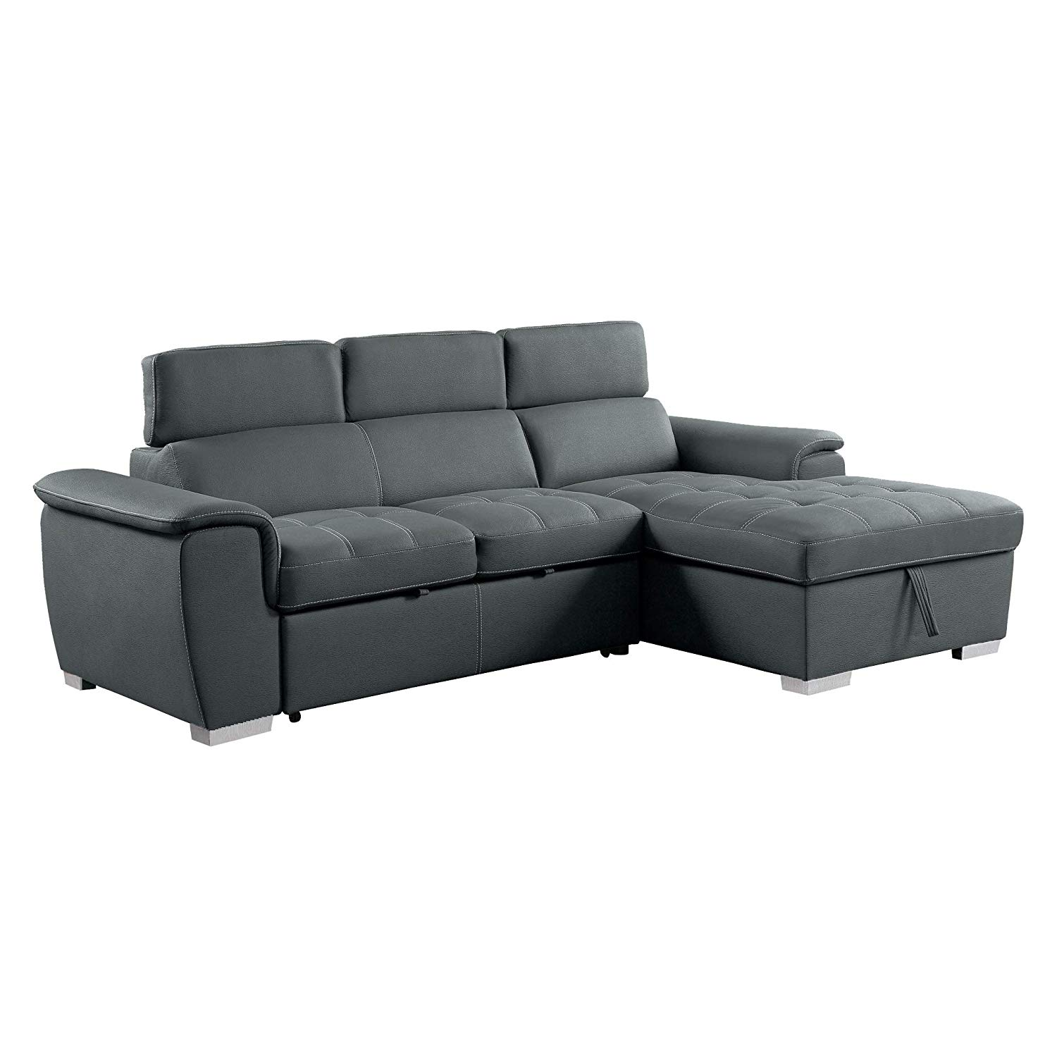 Traveller Location: Homelegance 8228 Sleeper Sectional Sofa with Storage, Gray:  Kitchen & Dining