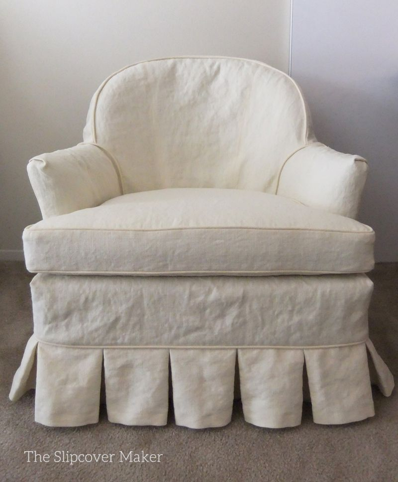 Custom slipcover in Hemp French Linen for a pair of vintage armchairs. More