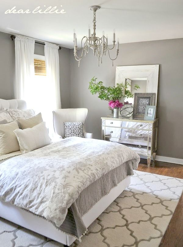Loads of tips for how to organize, decorate and add style to a small bedroom.  An attractive hanging light fixture or the sparkle of a chandelier can  bring a