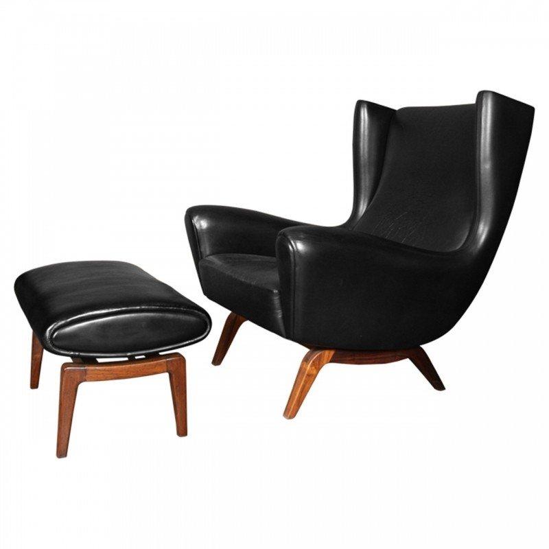 Illum wikkels model 110 black leather chair ottoman