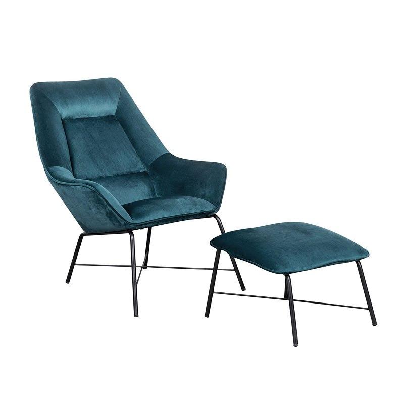 Small Space Modern Milan Chair w/ Ottoman (Aqua) by Accentrics Home |  FurniturePick