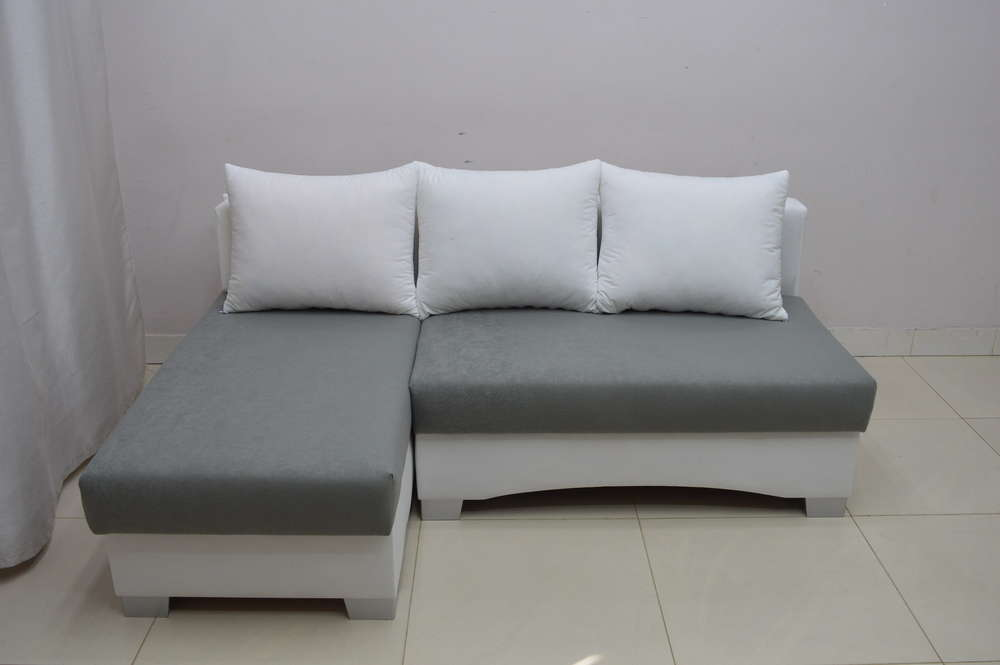 SMALL CORNER SOFA BED PICCO, WHITE/ DK GREY SUEDLINE FABRIC