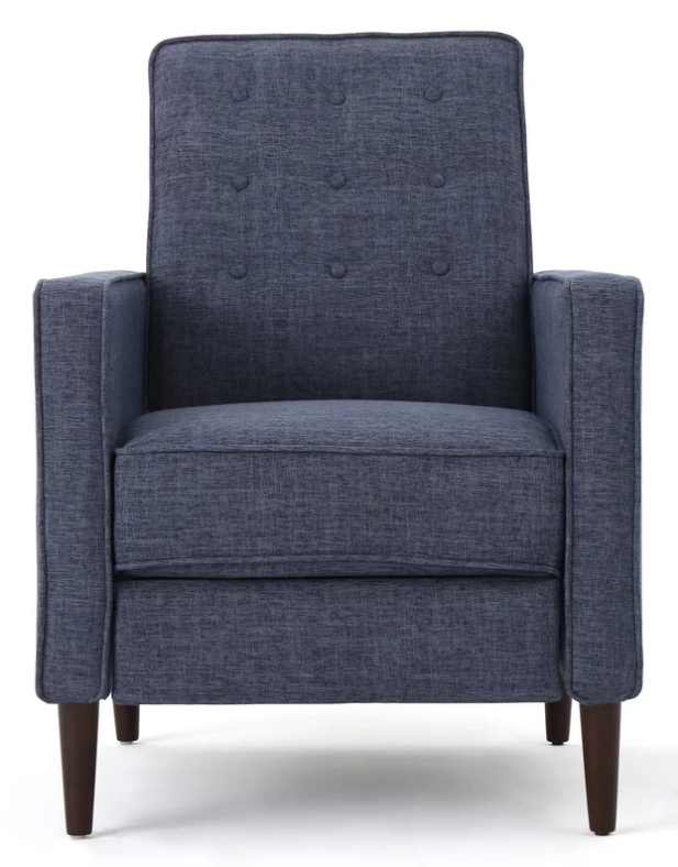 Dark blue club recliner with foam seat fill material and manual push back  function.