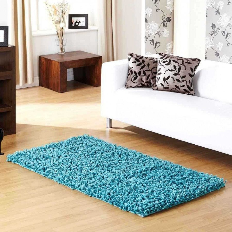 Blue Shaggy Small Area Rug