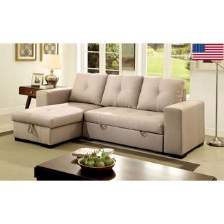 Furniture of America Living Room Small Sectional Sofa w Storage Reversible  Chaise Pull Out Bed Sleeper