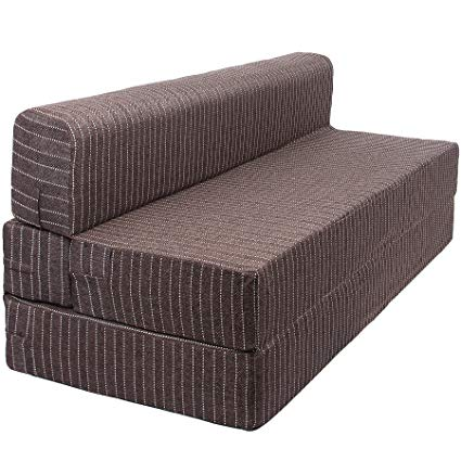 Uberlyfe Folding Foam Tri-Fold Guest Sofa/Bed With Washable Cover - 3  Seater (Brown, 70X72X8-Inch): Amazon.in: Electronics