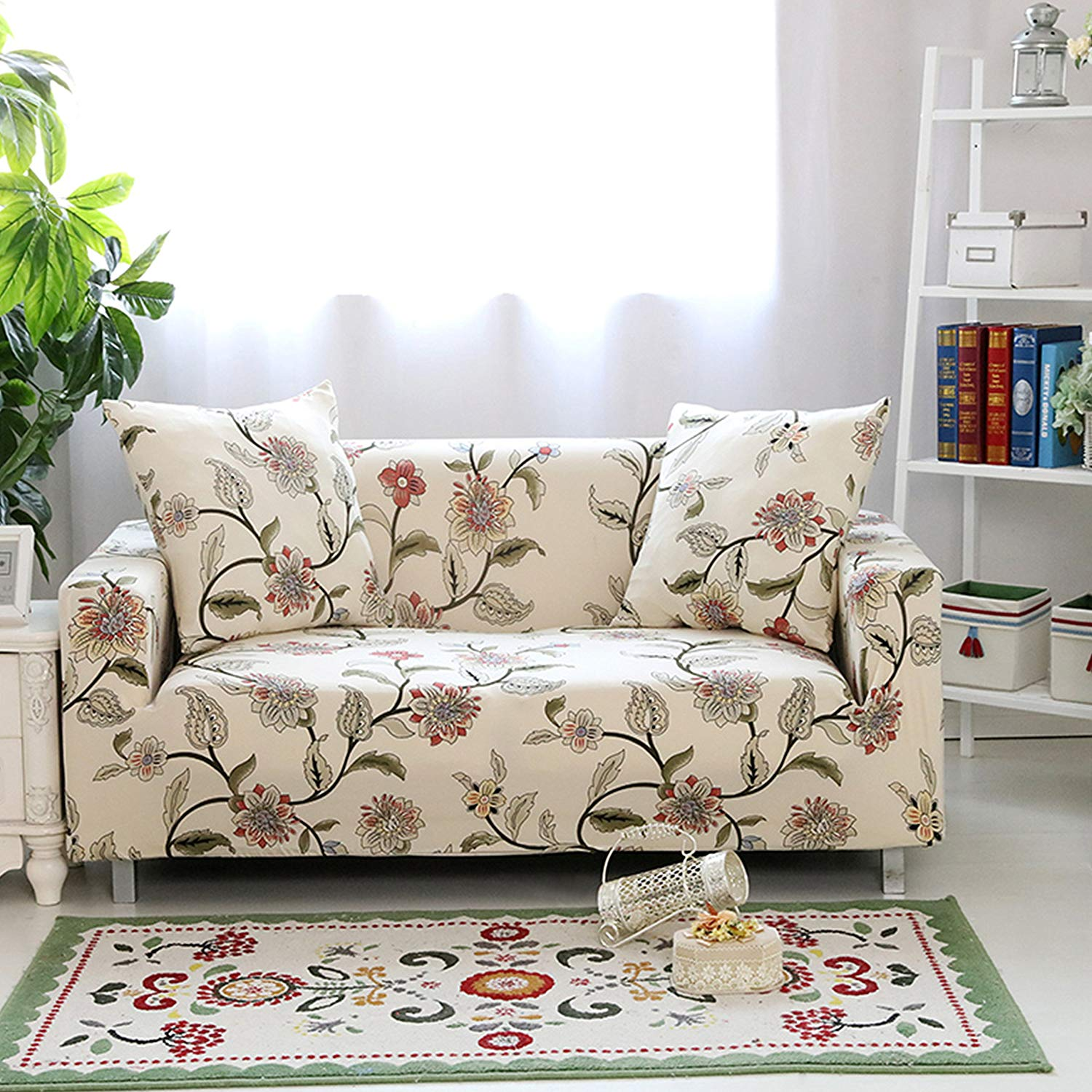 Traveller Location: Lamberia Printed Sofa Cover Stretch Couch Cover Sofa Slipcovers  for 3 Cushion Couch with One Free Pillow Case (Blooming Flower, Sofa 3  Seater):