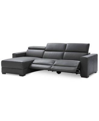 Furniture Nevio 3-pc Leather Sectional Sofa with Chaise, 2 Power  Recliners and Articulating