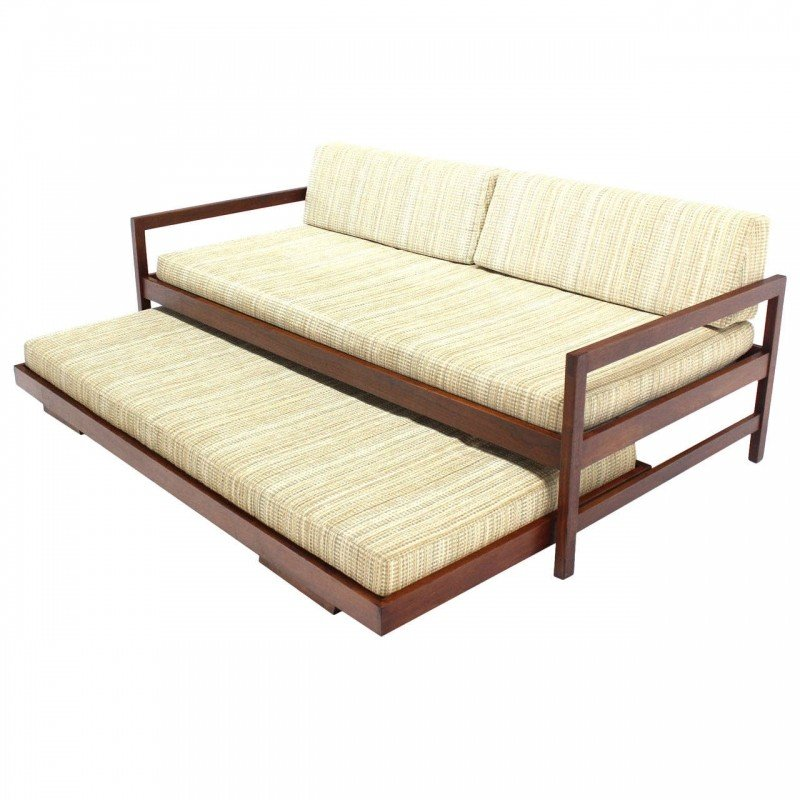 Solid walnut frame mid century modern trundle pull out bed