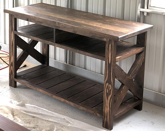 Rustic Media Console, TV Stand, Rustic, Farmhouse, Media Table,  Handcrafted, Solid Wood Furniture, Custom made, Living Room Decor