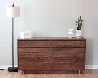 Modern Walnut Dresser | Mid Century Modern | Solid Wood Furniture