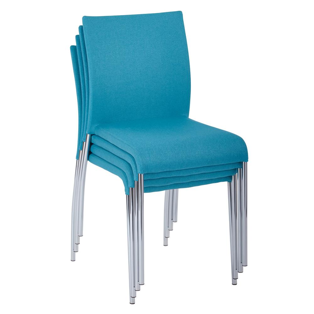 Ave Six Conway Aqua Fabric Stacking Chairs (Set of 4)