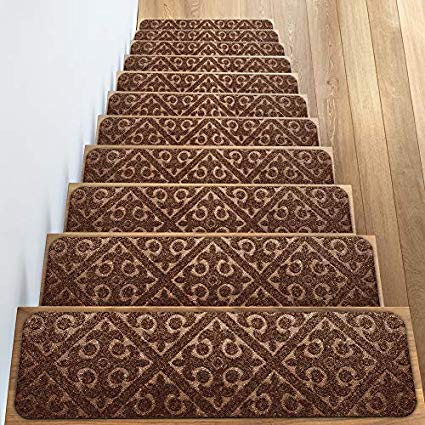 Elogio Carpet Stair Treads Set of 13 Non Slip/Skid Rubber Runner Mats or  Rug Tread