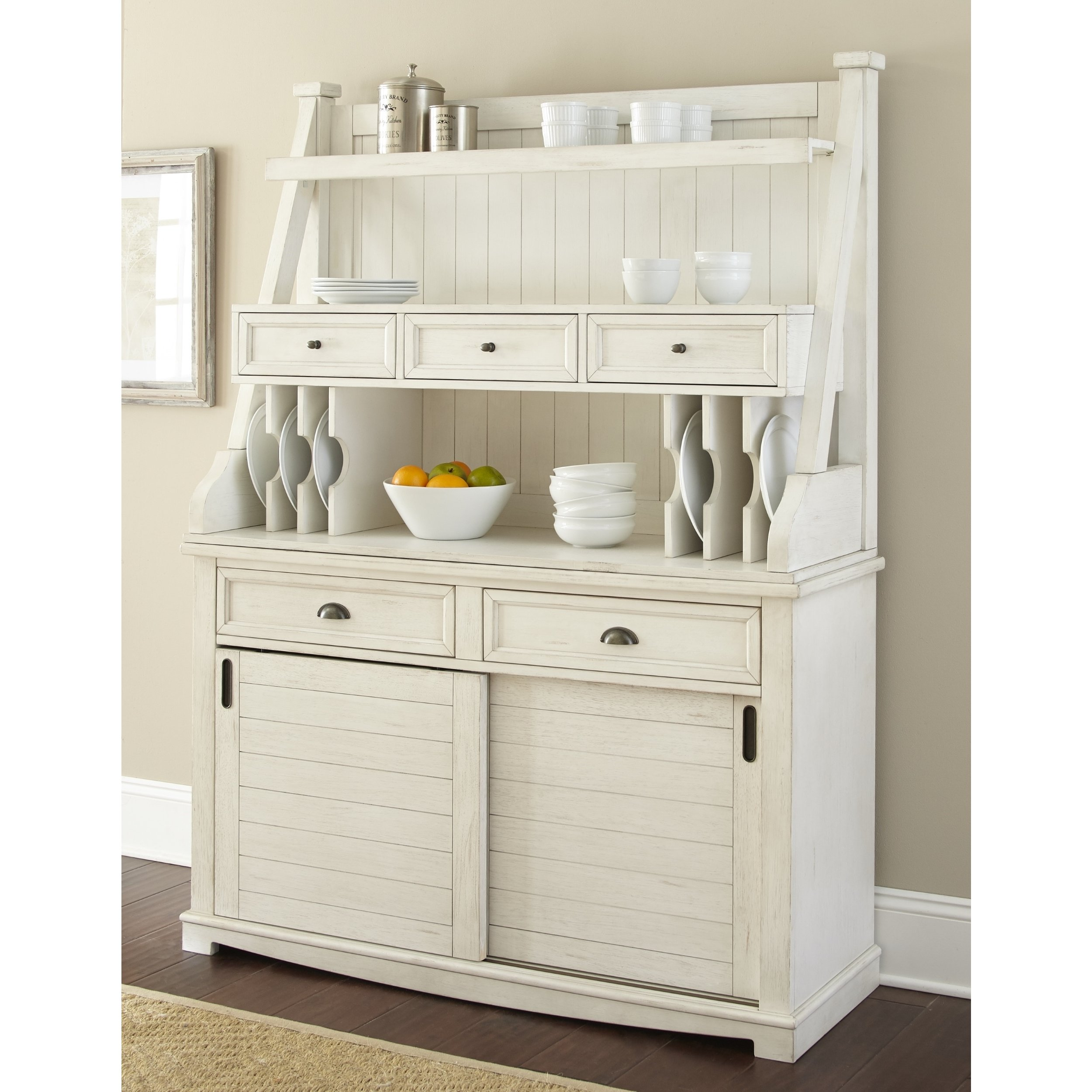 Shop Cottonville Farmhouse Antique White Storage Buffet Hutch by Greyson  Living - On Sale - Free Shipping Today - Overstock - 17182018