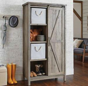 Detalles acerca de Small Kitchen Cabinet Bookcase Rustic Farmhouse Barn  Door Pantry Storage Hutch