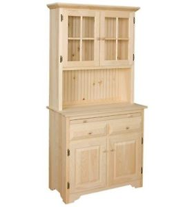 Image is loading AMISH-Unfinished-Solid-Pine-HUTCH-China-Cabinet-with-