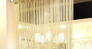 Eyotool 1x2 M Door String Curtain Rare Flat Silver Ribbon Thread Fringe  Window Panel Room Divider