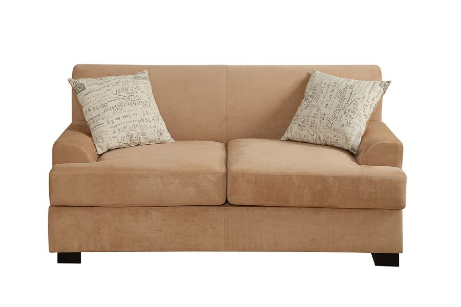 Bold Collection Tan Micro-Suede Loveseat + Accent Pillows