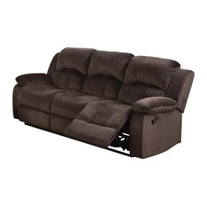 Solid Pine, Padded Suede and Plywood Reclining Sofa, Brown