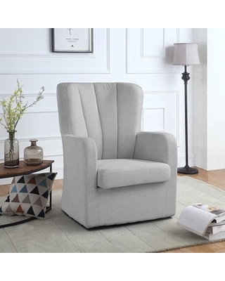 Modern Swivel Armchair, Rotating Accent Chair for Living Room with Pleated  Back (Light Grey